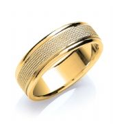7mm 18ct Yellow Gold Mill Grain Centre Flat Court Wedding Band